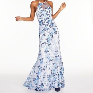Fitted Embroidered Halter Prom Dress